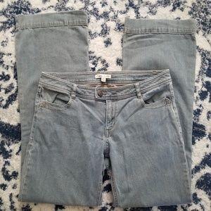 Cabi light gray/blue wide leg jeans size 10